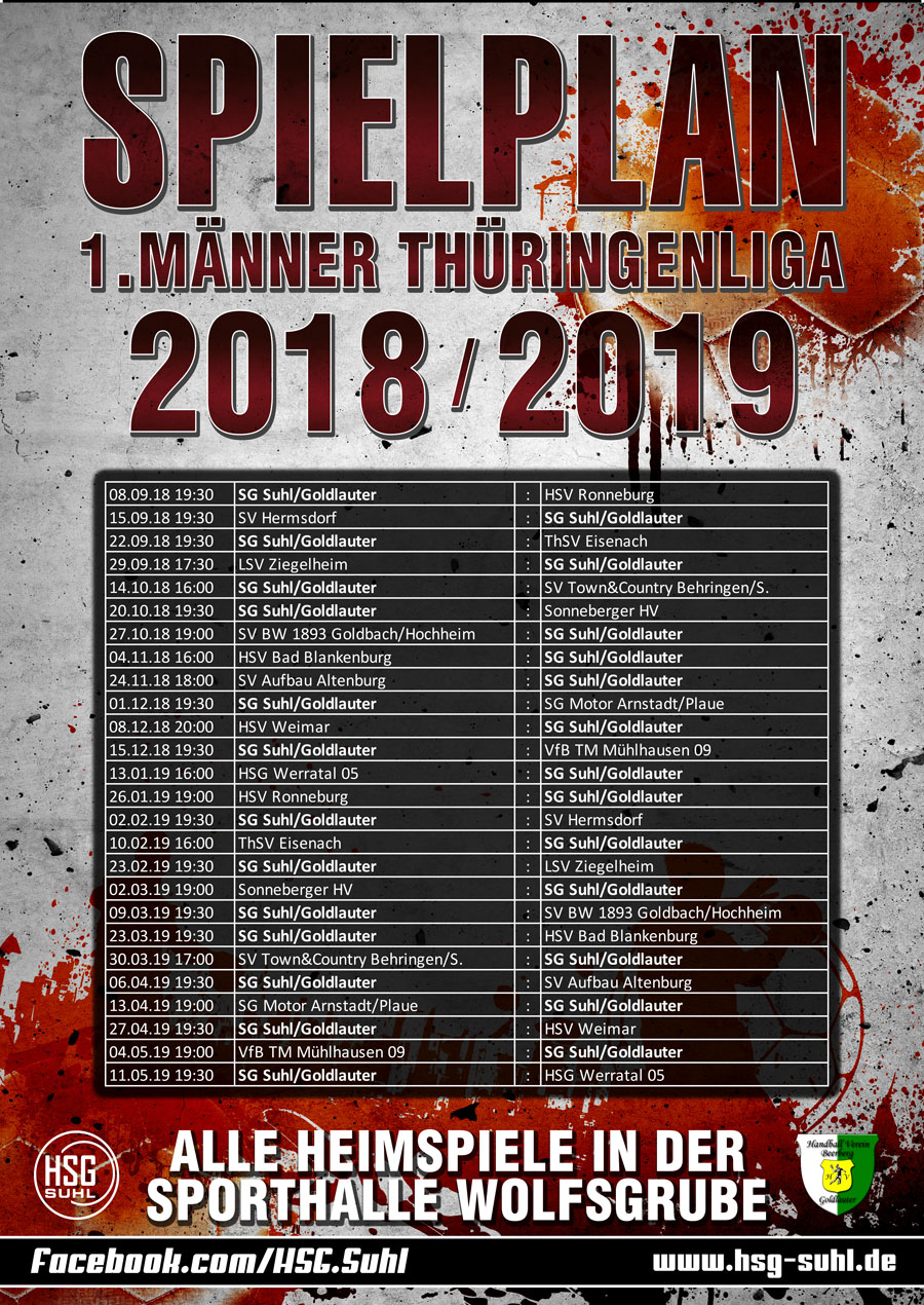 Spielplan Männer Saison 2018/2019